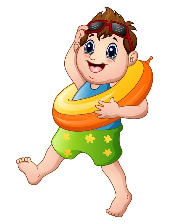 Beeldverhaal weinig jongen met reddingsboei het lopen vector illustratie