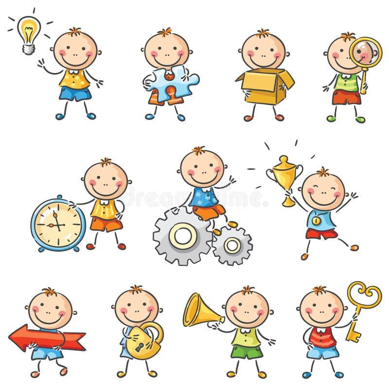 Beeldverhaal weinig jongen met verschillende voorwerpen vector illustratie