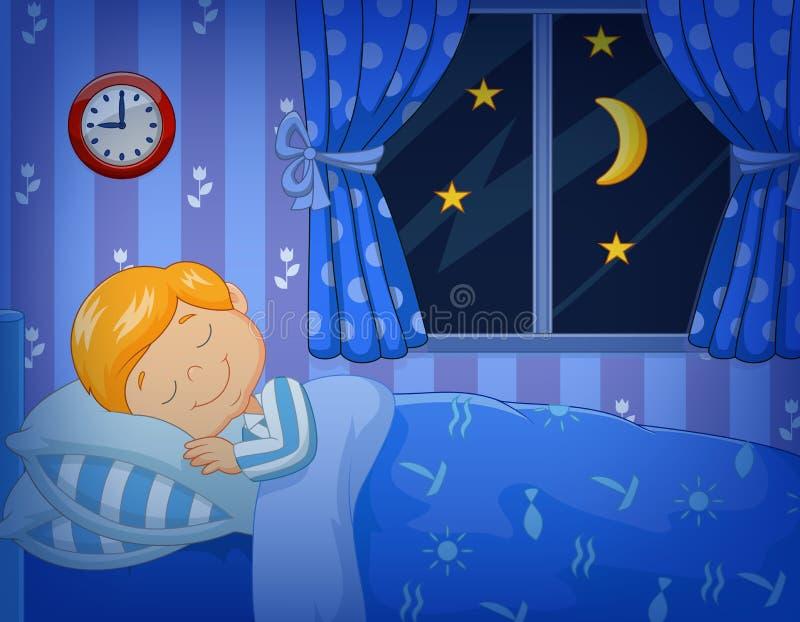 Beeldverhaal weinig jongensslaap in het bed royalty-vrije illustratie