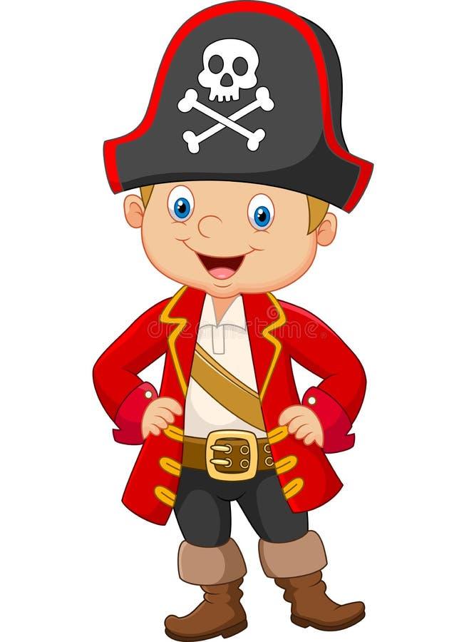 Beeldverhaal weinig kapitein van de jongenspiraat vector illustratie