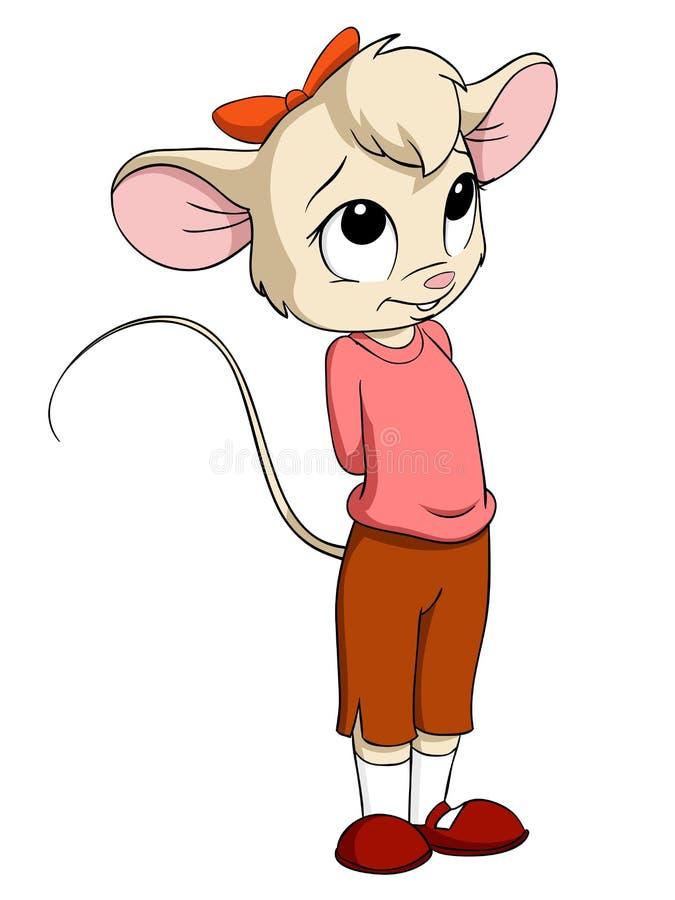 Beeldverhaal weinig muiswijfje in roze blouse stock illustratie