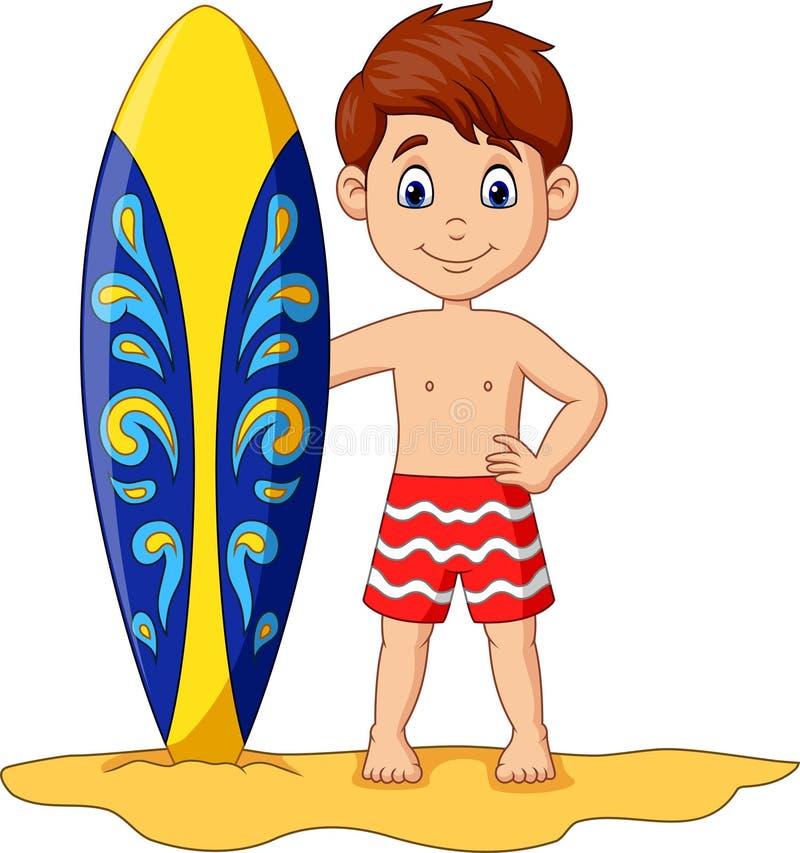 Beeldverhaal weinig surfplank van de jong geitjeholding stock illustratie