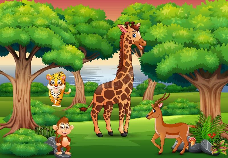 Beeldverhaal wild dier die in de wildernis genieten van royalty-vrije illustratie