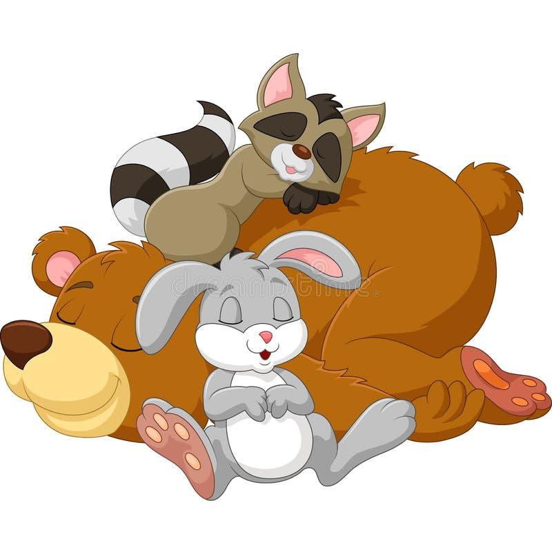 Beeldverhaal wilde dierlijke slaap samen stock illustratie