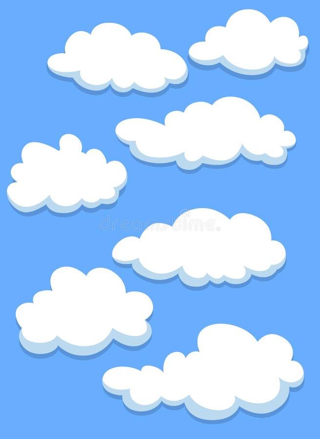 Beeldverhaal witte wolken op hemel stock illustratie