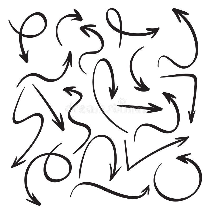 Beeldverhaal zwarte pijlen Hand getrokken pijlschets Werveling, terugkeerrug en geplaatste de vectorpictogrammen van de richtings vector illustratie