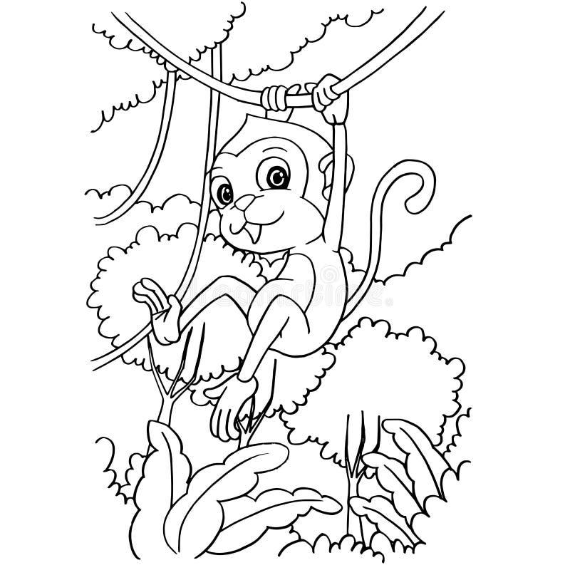 Beeldverhaalaap het spelen in de bos het kleuren paginavector vector illustratie