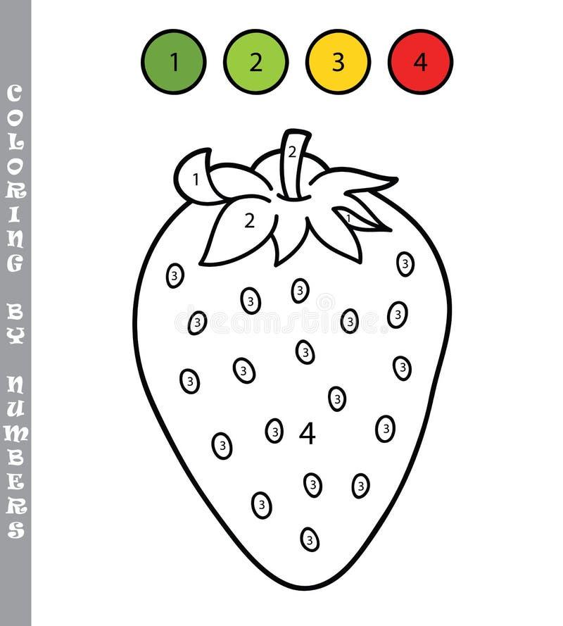 Beeldverhaalaardbei het kleuren door aantallen royalty-vrije illustratie