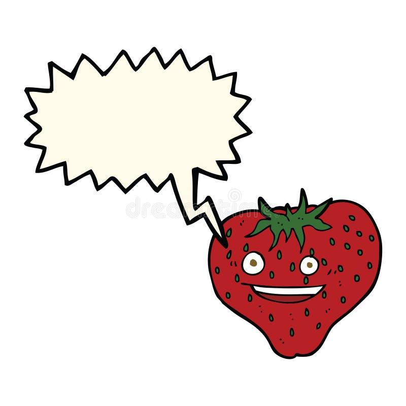 Beeldverhaalaardbei met toespraakbel vector illustratie