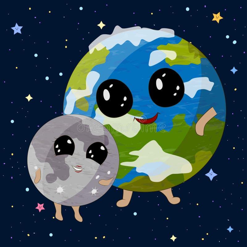 Beeldverhaalaarde en Maan op ruimteachtergrond, vectorillustratie vector illustratie
