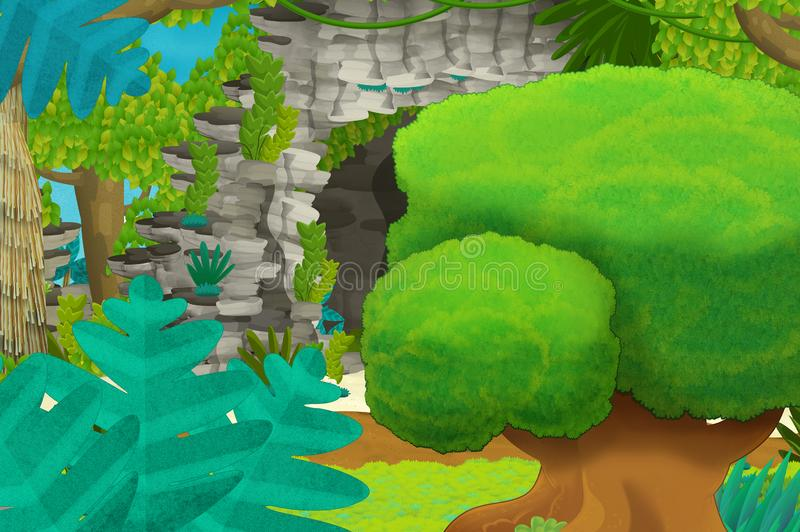 Beeldverhaalachtergrond met hol in de wildernis stock illustratie