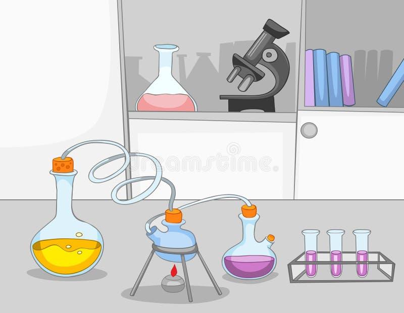 Beeldverhaalachtergrond van chemisch laboratorium stock illustratie