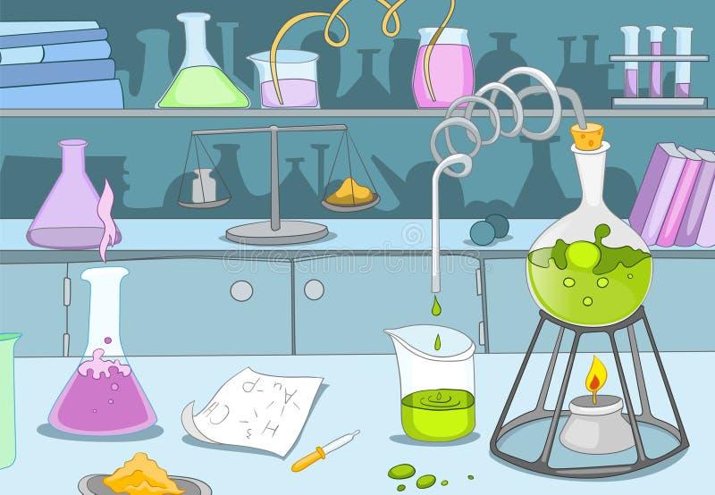 Beeldverhaalachtergrond van chemisch laboratorium vector illustratie