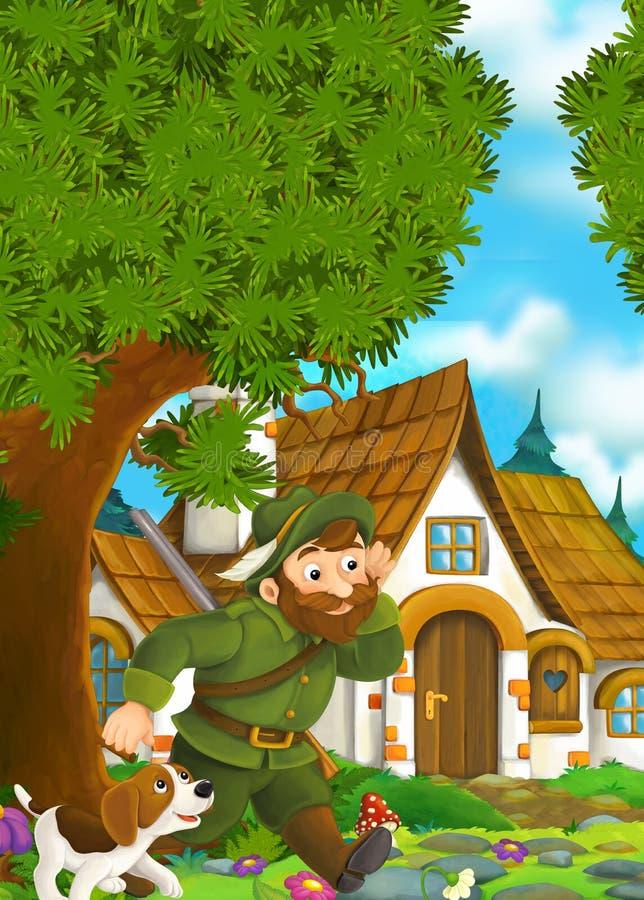 Beeldverhaalachtergrond van een oud huis in het bos - houtvester met zijn hond die aan traditioneel huis komen royalty-vrije illustratie