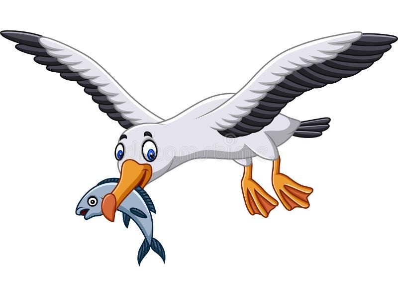 Beeldverhaalalbatros die een vis eten vector illustratie