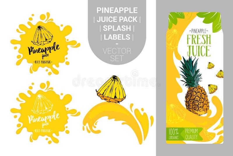 Beeldverhaalananas op sapplons Vers ananassappak met Organische etikettenmarkeringen en groene bladeren vector illustratie