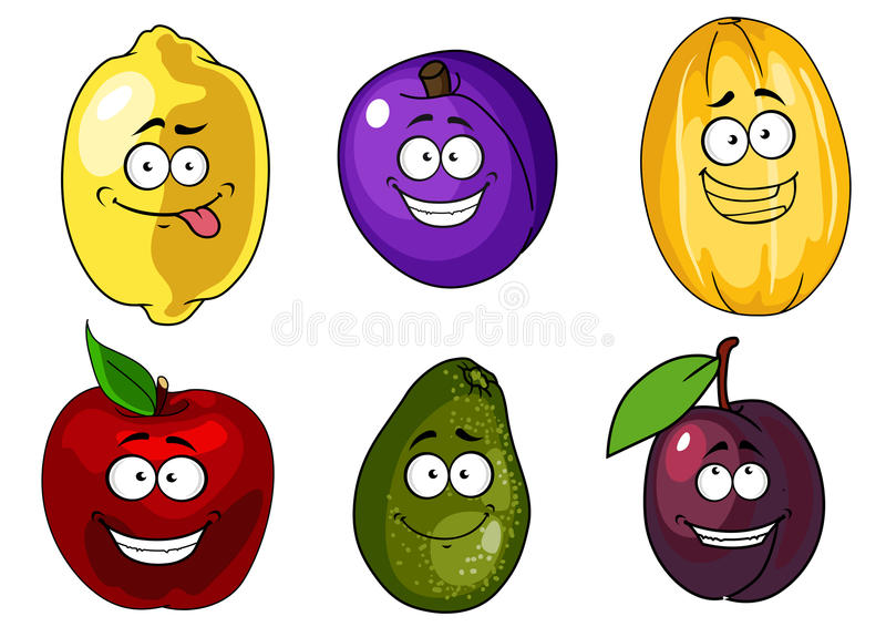 Beeldverhaalappel, pruimen, meloen, citroen en avocado vector illustratie