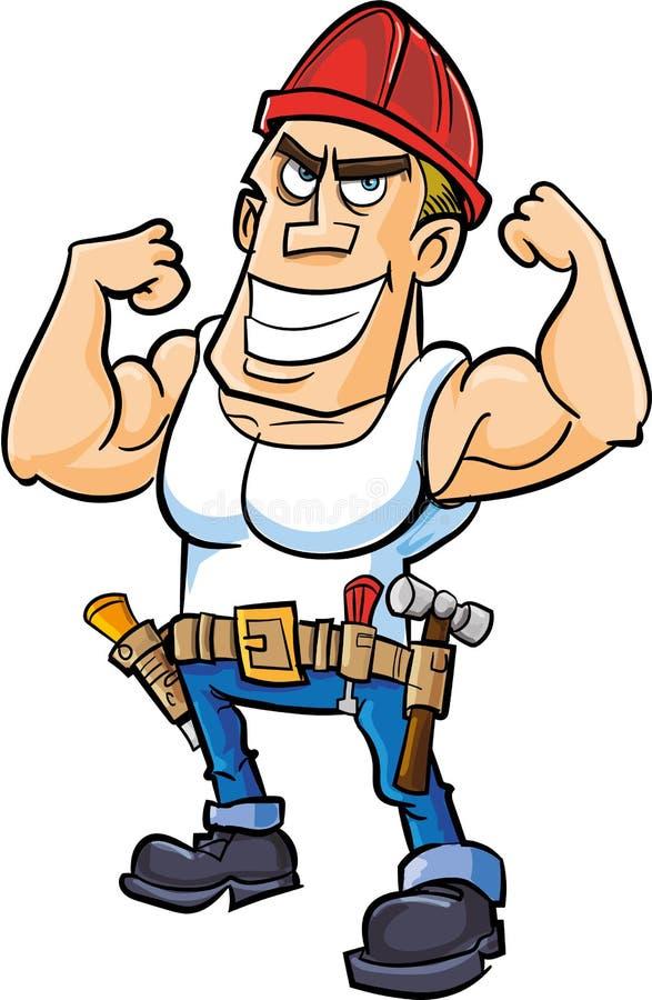 Beeldverhaalarbeider Die Zijn Spieren Buigen Stock Foto