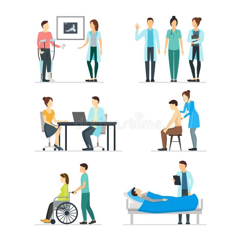 Beeldverhaalartsen en Patiënten de Reeks van het Karakterspictogram Vector vector illustratie