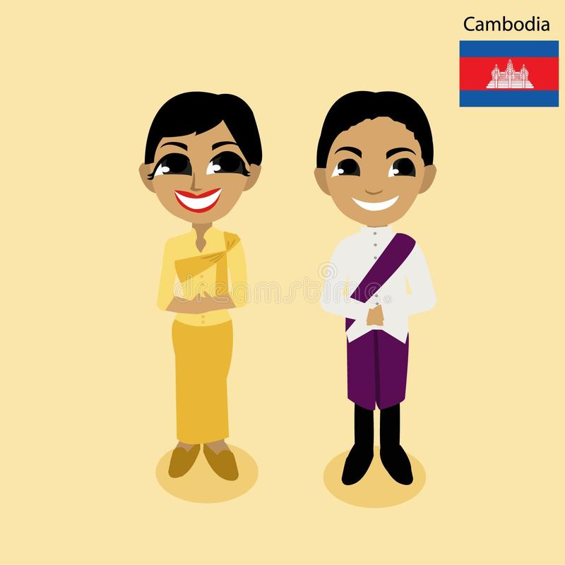 Beeldverhaalasean Kambodja vector illustratie