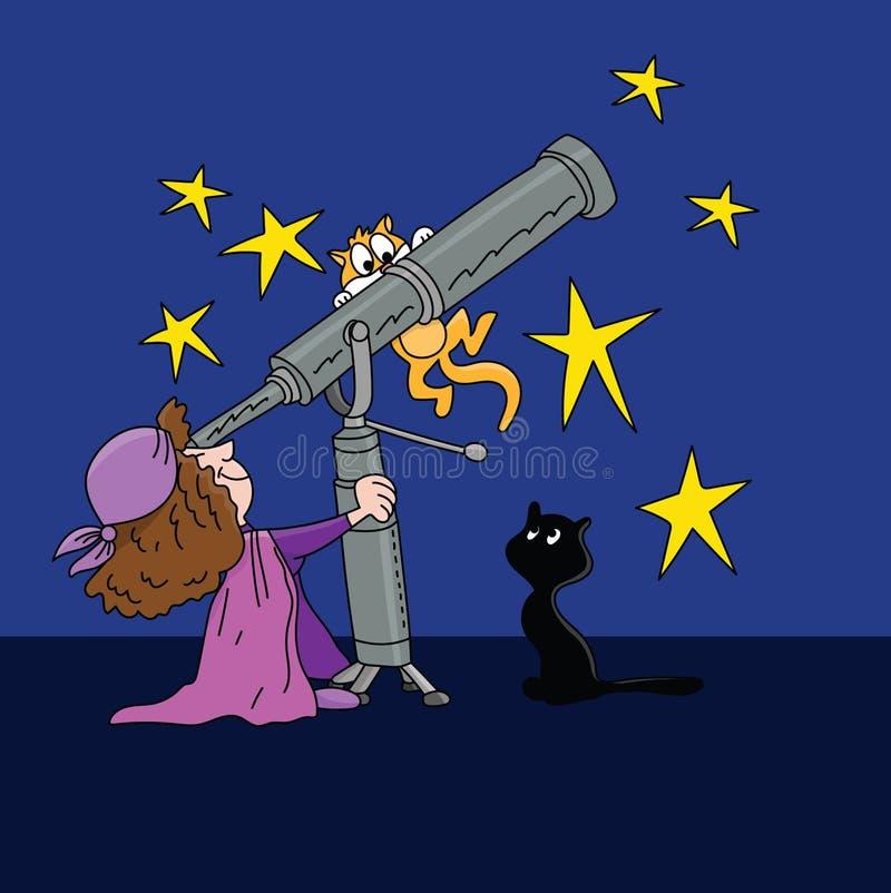 Beeldverhaalastroloog die de sterposities bekijken in de hemel met een telescoop bij nachtvector vector illustratie
