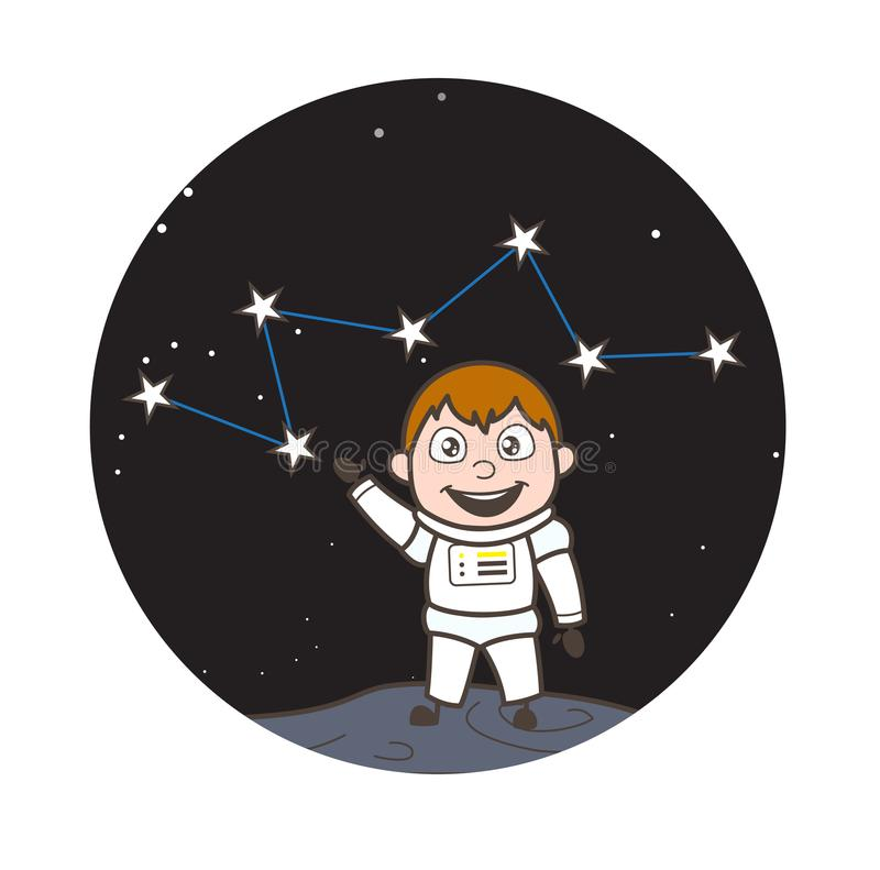 Beeldverhaalastronaut Showing Group van Sterren Vectorillustratie stock illustratie