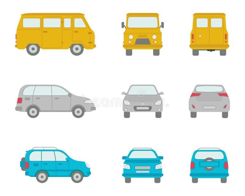 Beeldverhaalauto's in vlakke stijl stock illustratie