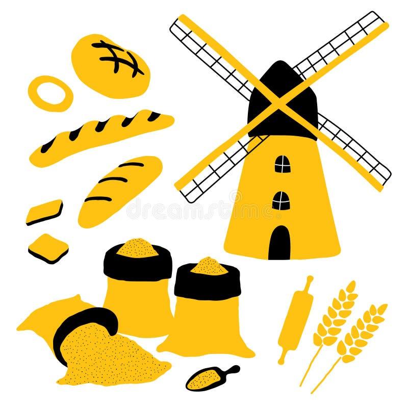 Beeldverhaalbakkerij met brood, molen, bloem, tarwe, brood, baguette, deegrol wordt geplaatst die Grappige krabbelhand getrokken  vector illustratie