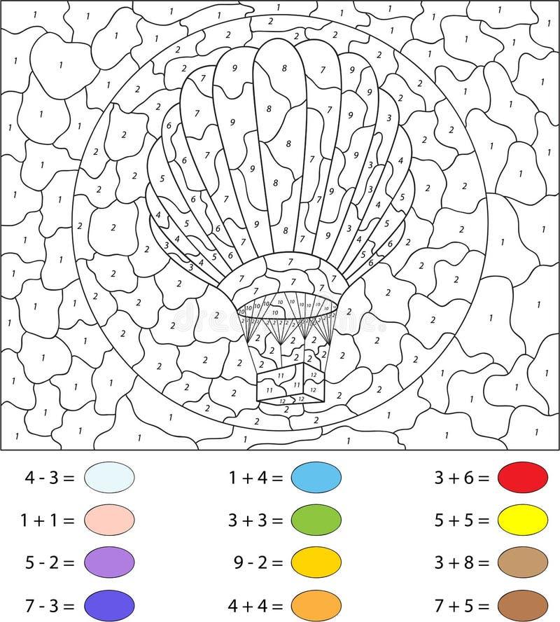 Beeldverhaalballon Kleur door aantal onderwijsspel voor jonge geitjes royalty-vrije illustratie