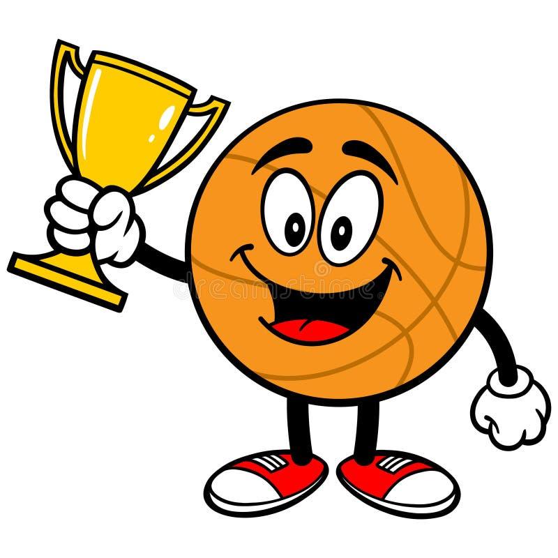 Beeldverhaalbasketbal met Trofee royalty-vrije illustratie