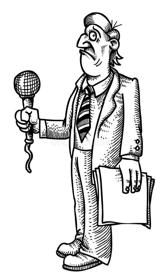 Beeldverhaalbeeld van beklemtoonde verslaggever vector illustratie