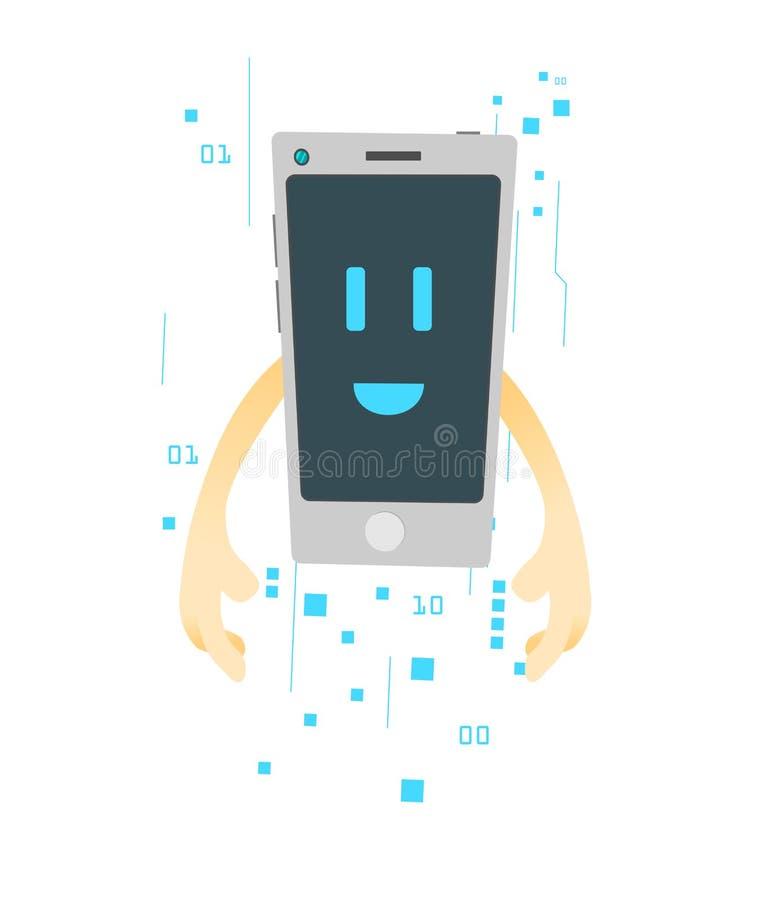 Beeldverhaalbeeld van smartphone op witte achtergrond Een beeldverhaalkarakter Vrolijke aard vector illustratie