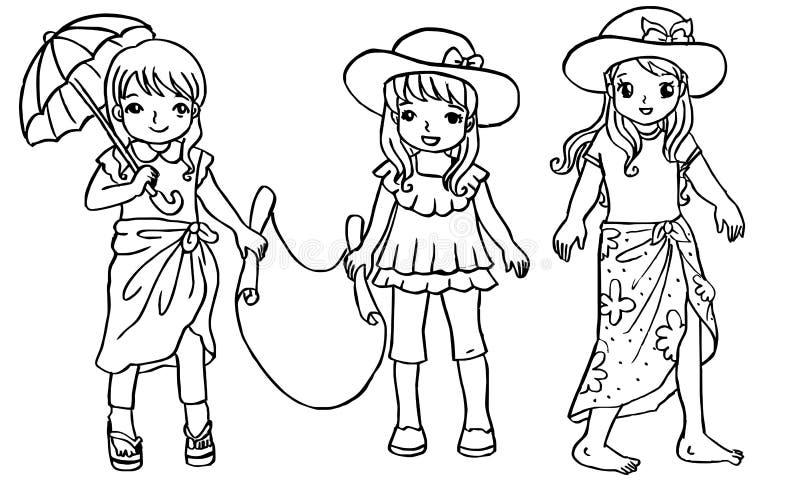 Beeldverhaalbeelden van mooie meisjes op het strand door orend vector illustratie