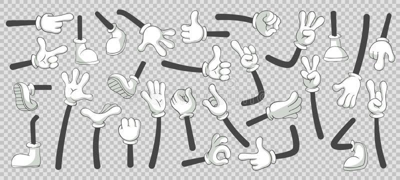 Beeldverhaalbenen en handen Benen in laarzen en gloved handen Vector geïsoleerde illustratiereeks royalty-vrije illustratie