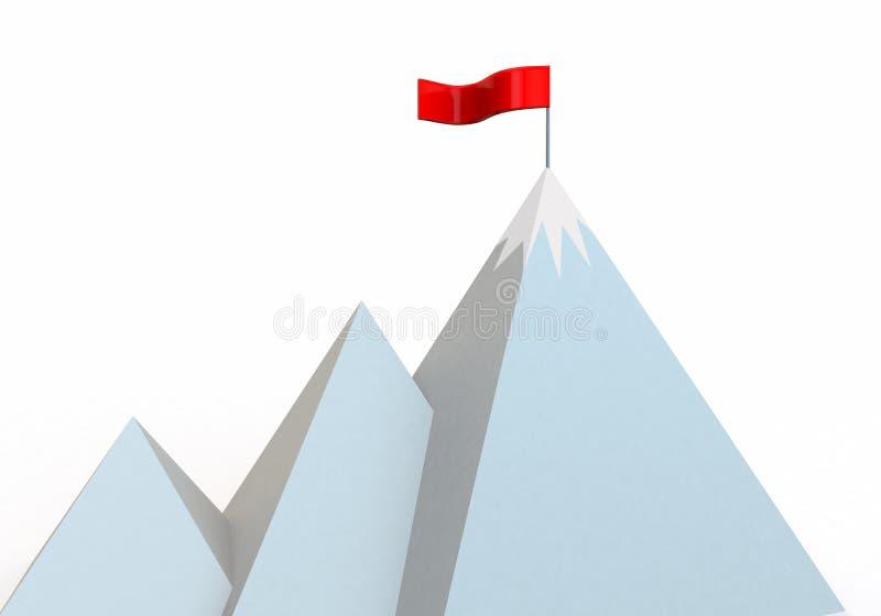 Beeldverhaalberg met vlag bij top royalty-vrije illustratie