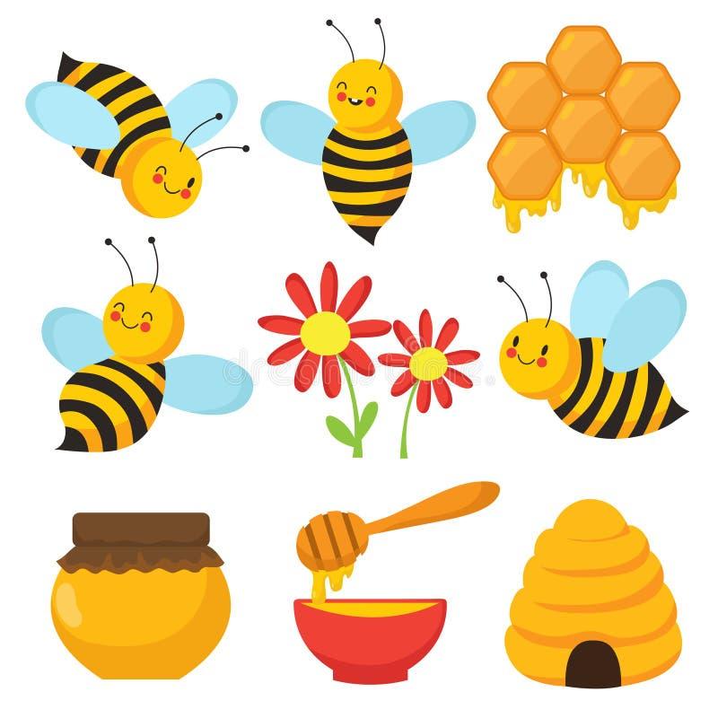 Beeldverhaalbij Leuke bijen, bloemen en honing Geïsoleerde vectorset van tekens royalty-vrije illustratie
