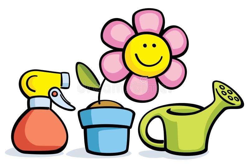 Beeldverhaalbloem in pot met gieter en spuitbus vector illustratie