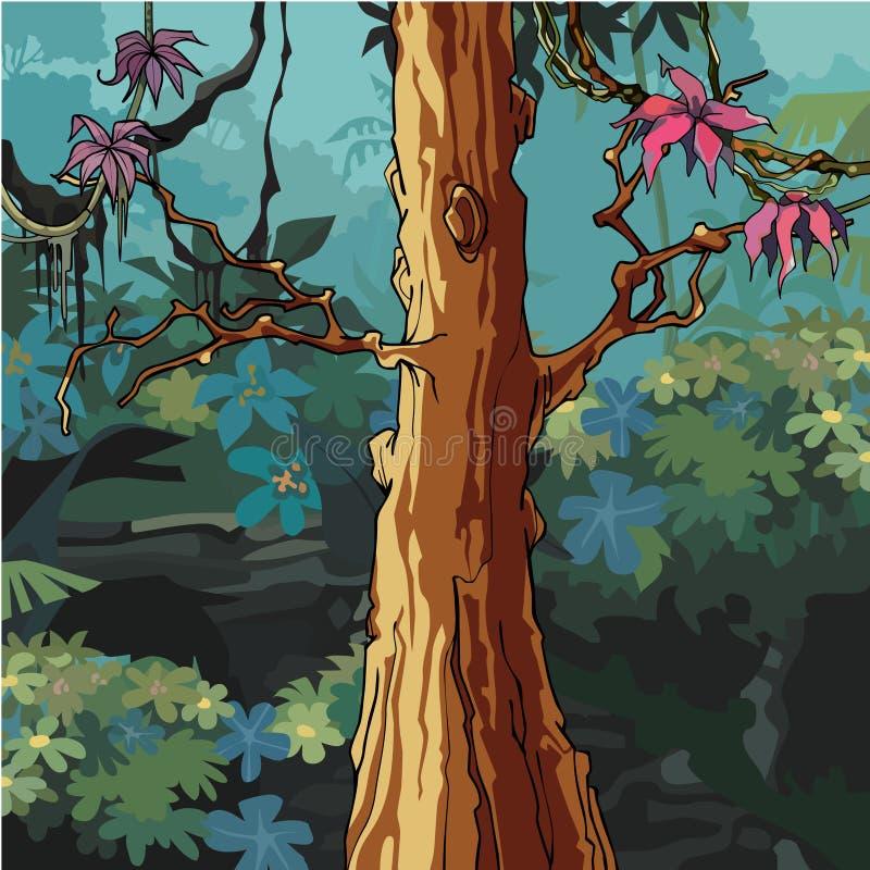 Beeldverhaalbos met grote boom met roze bladeren vector illustratie