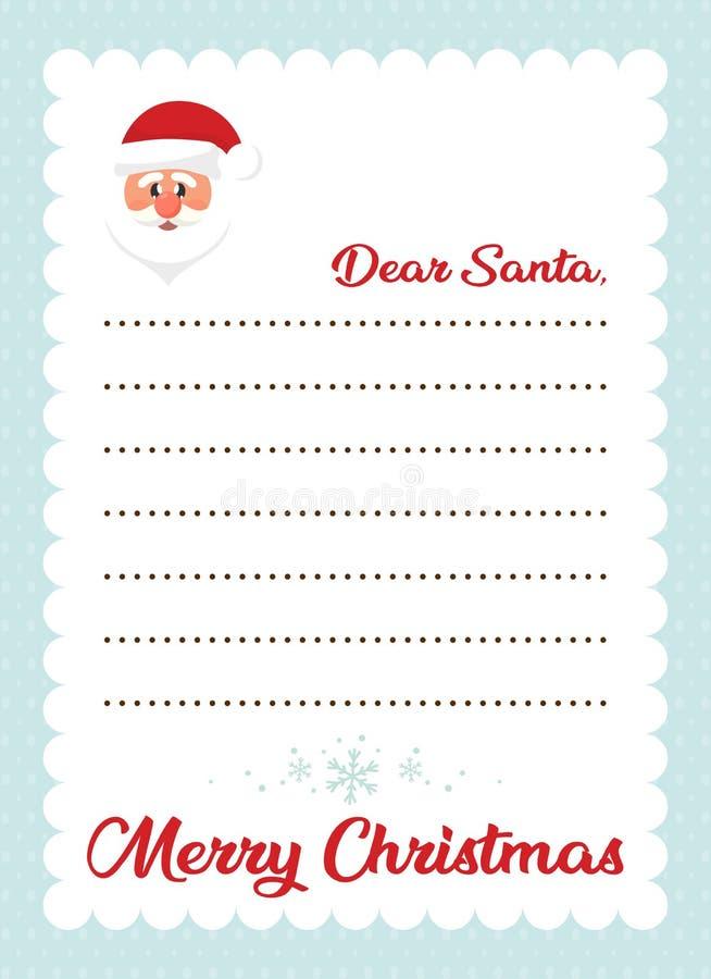 Beeldverhaalbrief aan santa met hoofdkerstmis de Kerstman stock illustratie