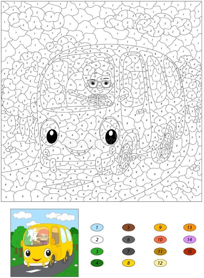 Beeldverhaalbus op de bosweg Kleur door aantal onderwijsspel vector illustratie