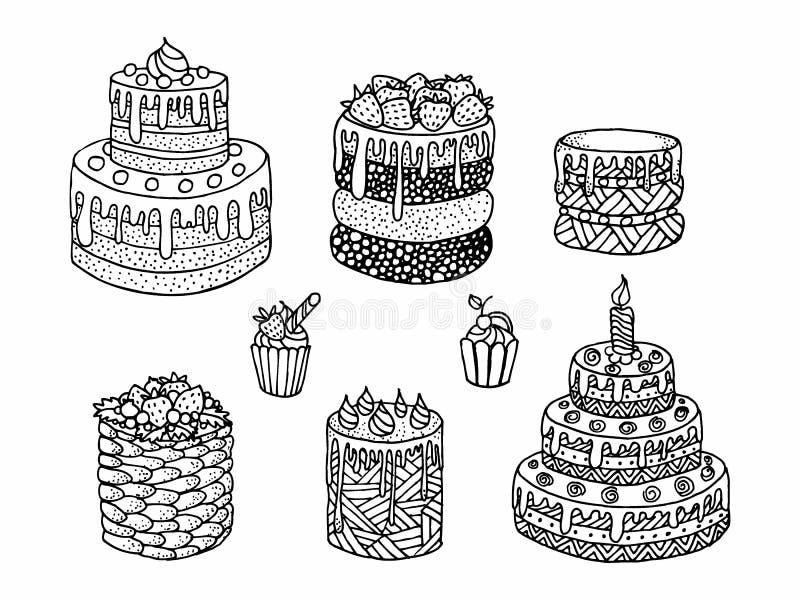 Beeldverhaalcake Krabbel - zwart-witte vectorillustratie royalty-vrije illustratie