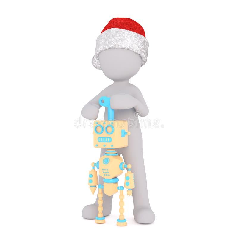 Beeldverhaalcijfer die de spelen van de santahoed met robot dragen vector illustratie