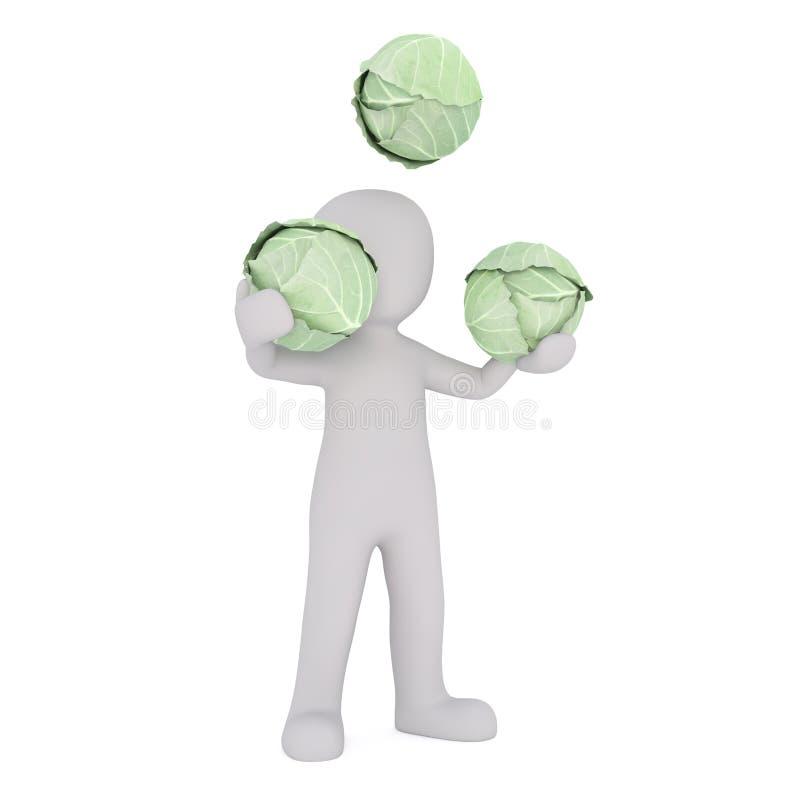 Beeldverhaalcijfer het Jongleren met Hoofden van Groene Kool vector illustratie
