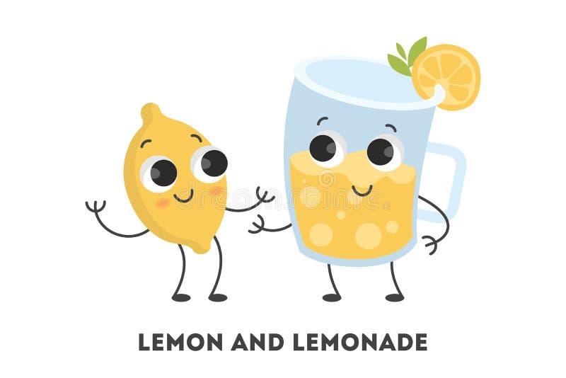 Beeldverhaalcitroen en limonade vector illustratie