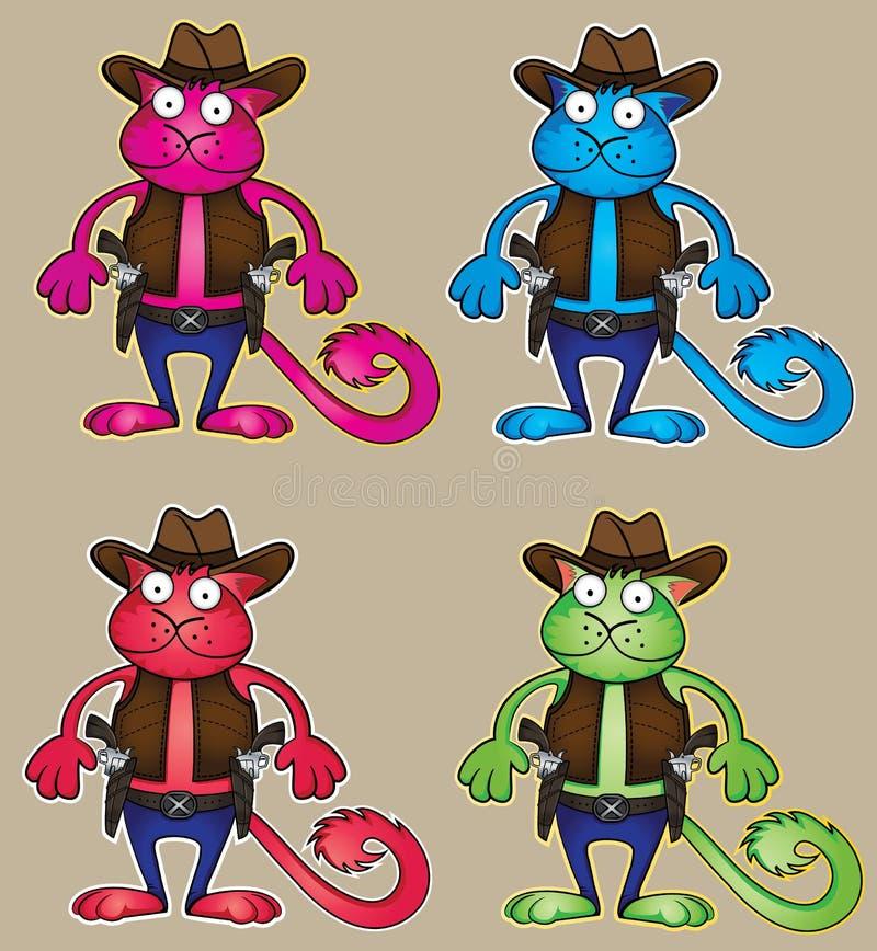 Beeldverhaalcowboy gekleurde kat met kanonillustratie stock illustratie