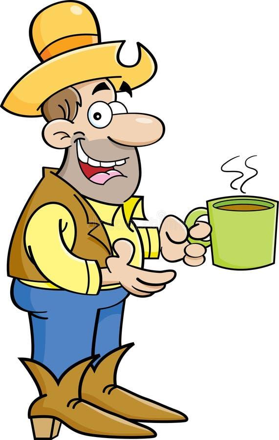 Beeldverhaalcowboy met kop van koffie vector illustratie
