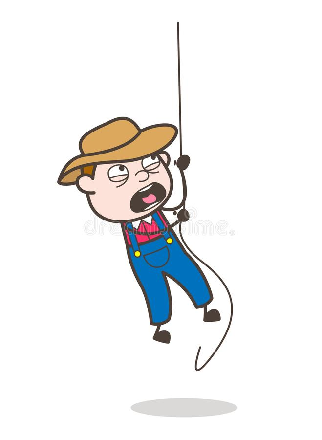 Beeldverhaalcowboy Person Climbing Rope Vector Concept royalty-vrije illustratie