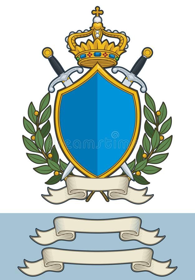 Beeldverhaalcrest - Koning Crown Sword Scroll en Olive Branches royalty-vrije illustratie