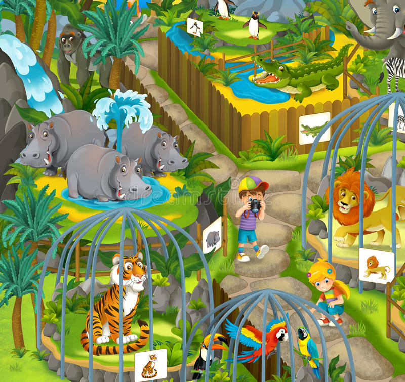Beeldverhaaldierentuin - pretpark - illustratie voor de kinderen vector illustratie
