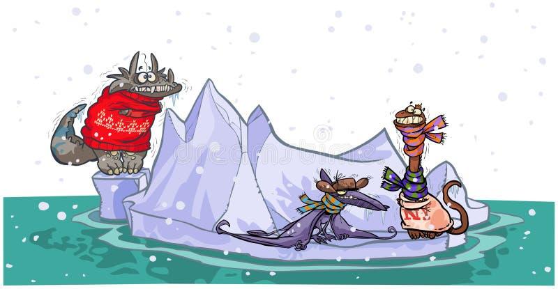 Beeldverhaaldinosaurussen op ijsberg. stock illustratie